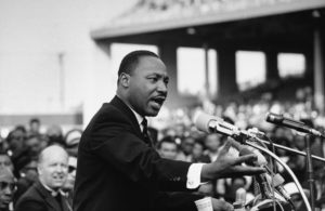 Rev. Dr. Martin Luther King Jr. speaking.